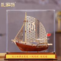 一帆风顺帆船摆件合金钱币工艺品船商务定制纪念品办公酒柜装饰品