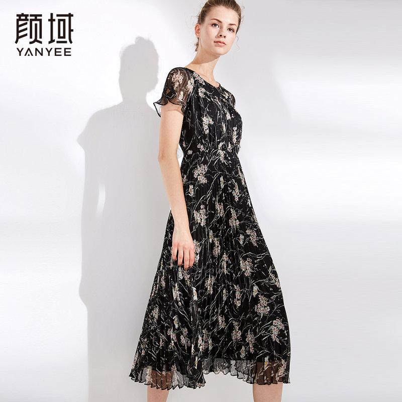 颜域女装2018夏季新款荷叶袖百褶修身显瘦中长款印花a字连衣裙女