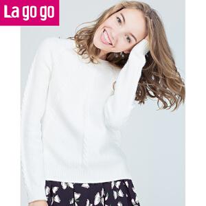 Lagogo2017冬季新款纯白圆领麻花针织衫女长袖宽松套头保暖打底衫
