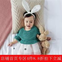 婴儿秋装0-1岁女宝宝纯色毛线上身连衣裙 幼儿外出百搭裙子潮