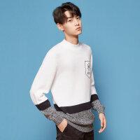 美特斯邦威条纹小高领毛衣男士冬新款韩版chic潮流学生套头衫