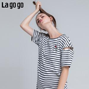 Lagogo/拉谷谷2018年夏季新款时尚小清新学院风连衣裙HALL324A25