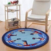 圆形地毯加厚手工地毯儿童书房卧室家用地毯电脑椅子垫 小船
