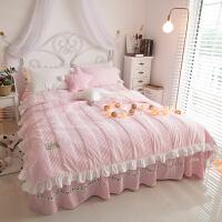 冬季加厚公主风天鹅绒珊瑚绒保暖夹棉四件套水晶短毛绒1.8m床被套 安妮儿粉色 2.2m(7英尺)床