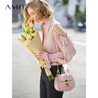 【到手价:169元】Amii极简欧货潮心机衬衫女2019秋季新款宽松喇叭袖配袖袢露肩上衣