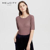 【1件2.5折到手价:74.8】MECITY女装简约中袖修身坑条微透视毛织T恤