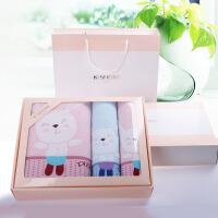 纯棉三件套装方巾毛巾浴巾各一条用全棉柔软吸水舒适 芭比粉 064粉色套粉色盒 140x72cm