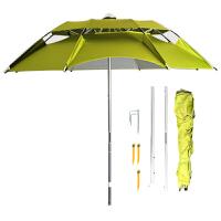 钓鱼伞 万向雨伞三折休闲双层垂钓伞防雨伞通风伞渔具垂钓用品 豆绿2.2米