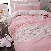 粉色少女全棉被套床单学生宿舍床品三件套床上四件套纯棉1.8m双人儿童被子