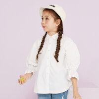 【年货节狂欢购,2件3折到手价:52.5】美特斯邦威旗下moomoo童装女童长款长袖衬衫