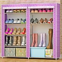 思故轩简易鞋柜鞋架 组装多层铁艺收纳防尘布鞋柜现代简约0503C