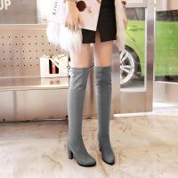 彼艾2018秋冬新款弹力瘦瘦靴兔毛粗跟圆头磨砂长筒靴高跟过膝长靴子