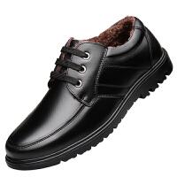 冬季加绒男士皮鞋男真皮中老年保暖棉鞋中年人爸爸鞋软底防滑男鞋 黑色 【系带】加绒款