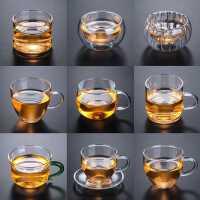 耐热玻璃茶杯小杯子带把加厚品茗杯家用双层杯茶碗主人杯功夫茶具kb6