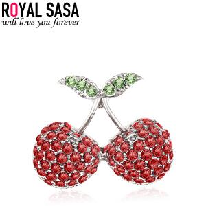 皇家莎莎胸针胸花日韩国气质樱桃可爱毛衣别针迷你领针 衬衫配饰品