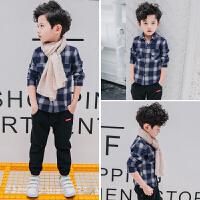 男童衬衫长袖秋季新款童装韩版儿童秋装男孩格子衬衣薄款