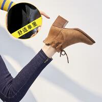 靴子女切尔西短靴粗跟2018新款女鞋秋冬季加绒保暖棉鞋高跟马丁靴