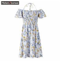 美特斯邦威连衣裙2019新款夏很仙的法国小众桔梗裙女装一字肩裙子