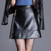 皮裙半身裙女秋冬新款高腰显瘦大码黑色百搭拉链a字裙短裙裙子