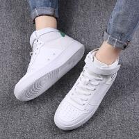 白色男鞋高帮鞋子加绒棉鞋休闲运动板鞋百搭潮鞋 白色高帮1826 保证真皮
