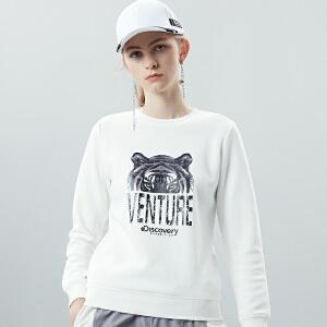 Discovery户外2018秋冬新品女套头印花长袖卫衣DAUG92906