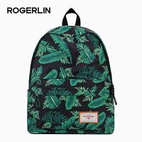 双肩包女韩版印花背包中学生书包学院风男旅行电脑包大容量休闲包 绿色