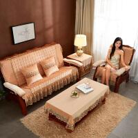实木沙发垫带靠背连体冬季定做木沙发坐垫带靠背中式加厚海绵防滑垫子红木沙发坐垫