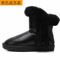 雪地靴女皮面防水2018新款冬季短筒百搭厚底加厚保暖防滑棉鞋 TBP