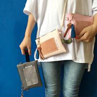 韩国新款纯色复古拼接口袋流苏斜挎包简约信封包手机包手拿包女包