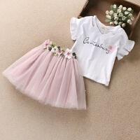 女童套装夏装短袖T恤棉中大童小女孩衣服纱裙短裙两件套3-14岁
