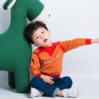 2018秋冬装新款韩版字母提花纯棉毛衣男童针织衫女童撞色毛衫上衣