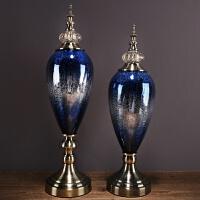 家居生活用品欧式玻璃摆件软装饰品样板房间客厅电视柜玄关酒柜新古典摆件