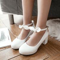 韩版公主2018新款女童皮鞋白色童鞋粗跟单鞋小主持女孩礼服高跟鞋SN3369
