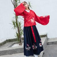 秋冬传统改良汉服女交领袄裙大袖刺绣加厚齐腰襦裙日常学生套装