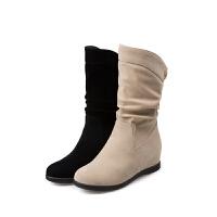 秋冬内增高雪地靴磨砂�C脚加绒平底保暖女靴中筒靴大码棉鞋短靴43真皮