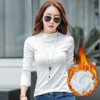 秋冬季新款半高领加绒打底衫女长袖T恤白色修身外穿秋