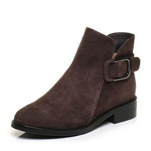 Tata/他她2017冬羊皮绒面及踝靴皮带扣女休闲靴FS340DD7