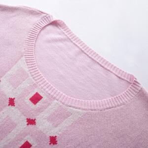 几何图形圆领套头针织衫长袖毛衣