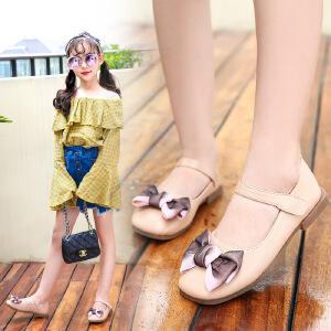 韩版2018春秋季公主儿童平底鞋蝴蝶结可爱单鞋小女孩女童软底皮鞋