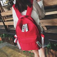 帆布双肩包韩版学院初中学生大容量书包2018新款女生双肩背包潮