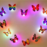 3d立体自粘七彩LED夜光仿真发光蝴蝶墙贴儿童房墙上装饰创意贴画 特大