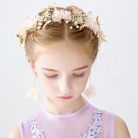 春夏新款粉色可爱头箍儿童花环配饰女童六一公主演出饰婚纱头饰女9549 粉红色