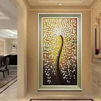 装饰字画油画手绘油画发财树立体 家居玄关走廊挂画现代装饰画竖版 有框壁画 玉叶发财树 香槟金PS框