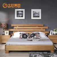 北欧篱笆榆木实木床现代实木家具定制实木床婚床 1.5/1.8米双人床全实木床