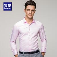 罗蒙男士衬衣休闲纯色大码长袖衬衫