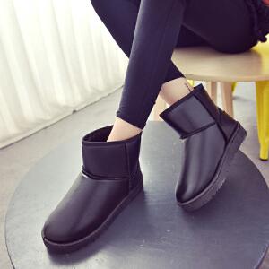 女式 冬季新款防水皮面雪地靴女短筒平底短靴保暖加厚加绒棉鞋