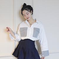 春季新款韩版双口袋拼长袖白衬衫女宽松显瘦百搭学生外套上衣潮