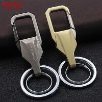 金属钥匙扣男士简约汽车钥匙圈个性不锈钢双环腰挂锁匙扣
