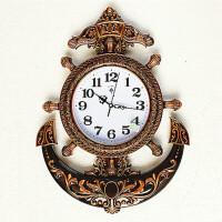 欧式仿铜色大号海盗壁挂钟客厅创意个性艺术墙钟卧室静音机芯表 20英寸