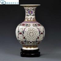 插花瓶 陶瓷粉彩客厅古典工艺品瓷器中式摆件陶瓷双层青花花瓶镂空花器台面清新